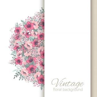 Rocznika kwiecisty ramowy tło z kolorowym kwiatem.