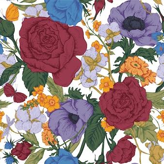 Rocznika kwiecisty wektorowy bezszwowy wzór z różami