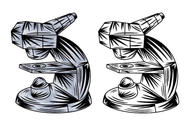 Rocznika mikroskopu odosobniona retro wektorowa ilustracja.