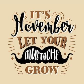 Rocznika movember wąsy sezonu tło
