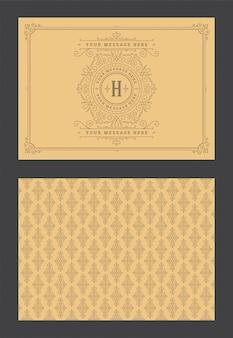 Rocznika ornamentu kartka z pozdrowieniami winiet kaligraficzna ozdobna rama projektuje wektorowego szablon