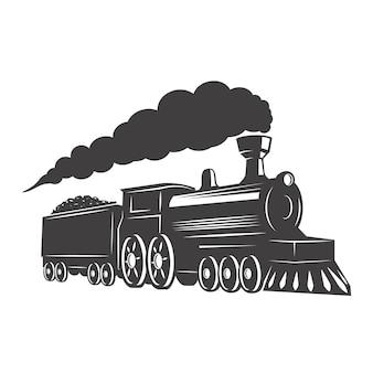 Rocznika pociąg na białym tle. element logo, etykieta, godło, znak. ilustracja