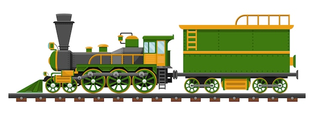 Rocznika pociąg na linia kolejowa projekta ilustraci odizolowywającej na białym tle