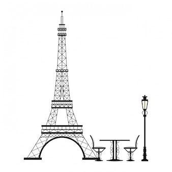 Rocznika stół i krzesło na wieży eifla
