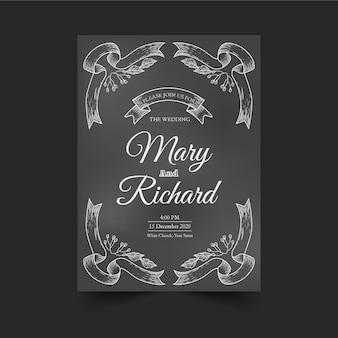 Rocznika szablonu ślubny zaproszenie na blackboard