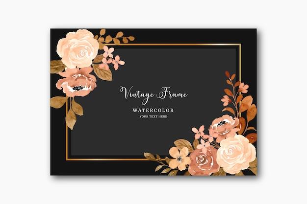 Rocznika tło ramki kwiatowej z akwarelą