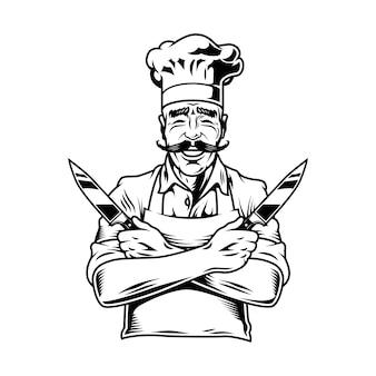 Rocznika uśmiechnięty szefa kuchni mienia noże
