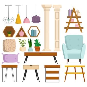 Rocznika wewnętrznego meble bogaty zamożny domowy krzesło pokój z kanapy kanapy siedzenia ustaloną ilustracją.