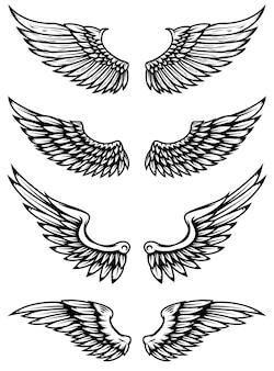 Roczników skrzydła na białym tle. elementy logo, etykiety, godła, znaku, znaku marki. ilustracja.
