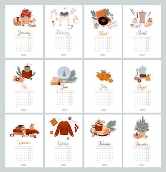 Roczny kalendarz i planner ze wszystkimi miesiącami kalendarz ścienny organizator i harmonogram świąteczna skandynawska ilustracja z wystrojem domu hygge