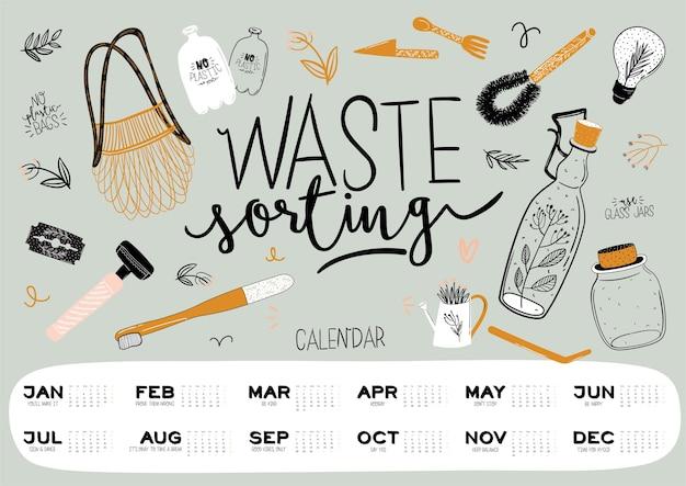 Roczny kalendarz planner ze wszystkimi miesiącami