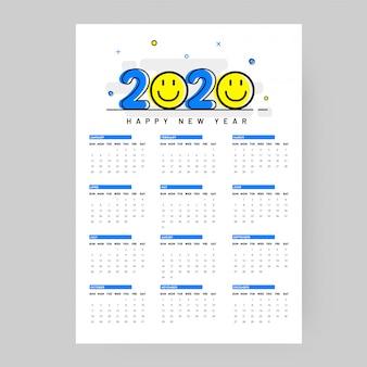 Roczny kalendarz ścienny na 2020 rok z emotikonami na białym