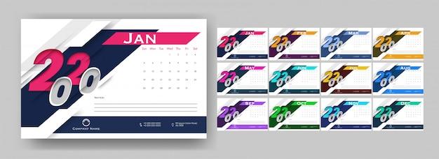 Roczny kalendarz z wyciętym tekstem 2020 i szczegółami firmy.