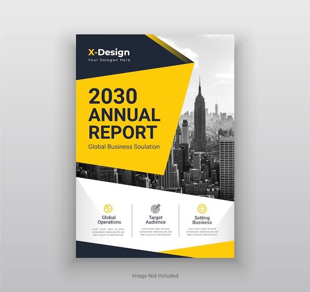 Roczny raport biznesowy projekt ulotki i broszury
