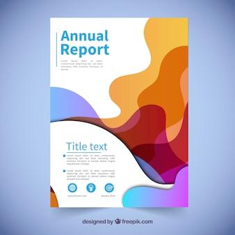 Roczny raport pokrywa szablon z falistymi kształtami