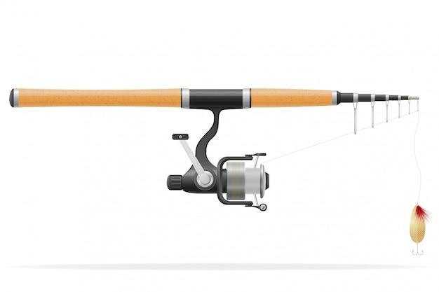 Rod spinning do połowów ilustracji wektorowych