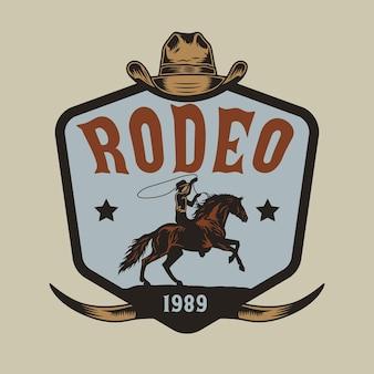 Rodeo kowboj na koniu na wyciągnąć rękę