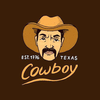 Rodowity amerykanin, kowboj. stara etykieta lub znaczek. szeryfie, western. grawerowane ręcznie rysowane w starym szkicu. kraj i teksas.