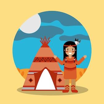 Rodowity amerykański indyjski trwanie teepee krajobraz
