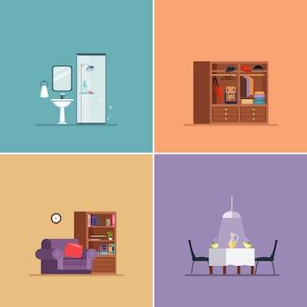 Rodzaje aranżacji wnętrz. zestaw ilustracji