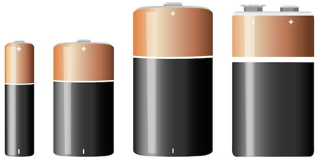 Rodzaje baterii alkalicznych na białym tle