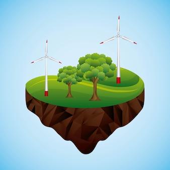 Rodzaje energii wiatry turbiny drzewo krajobraz obrazu