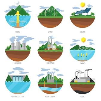 Rodzaje energii wytwarzania. zestaw ikon elektrowni. odnawialna alternatywa, energia słoneczna i pływowa, wiatr i geoterma, ilustracja biomasy i fal