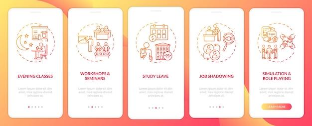 Rodzaje instrukcji personelu wprowadzających ekran strony aplikacji mobilnej z koncepcjami. warsztaty, odgrywanie ról, seminaria. 5 kroków. szablon ui z kolorem rgb