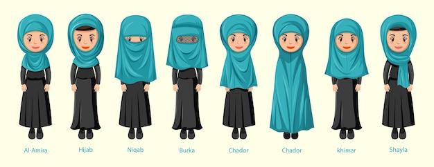 Rodzaje islamskich tradycyjnych welonów kobiecych w postaci z kreskówek