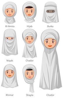 Rodzaje islamskich tradycyjnych welonów kobiecych w stylu kreskówki