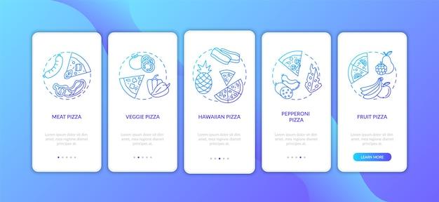 Rodzaje pizzy na ekranie strony aplikacji mobilnej z koncepcjami