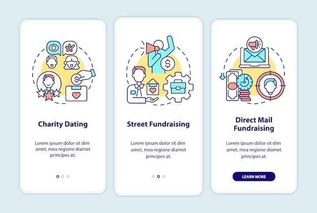 Rodzaje pozyskiwania funduszy na ekranie strony aplikacji mobilnej. charytatywna randka instruktażowa 3 kroki graficzne instrukcje z koncepcjami. szablon wektorowy ui, ux, gui z liniowymi kolorowymi ilustracjami