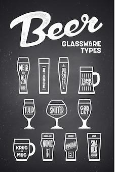 Rodzaje szklanek do piwa. plakat lub baner z różnymi typami