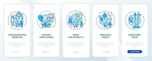 Rodzaje terapii rodzin online wprowadzające na ekran aplikacji mobilnej z koncepcjami. 5 kroków - przewodnik po mieszanych problemach rodzinnych. szablon ui z kolorowymi ilustracjami rgb