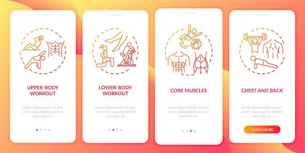 Rodzaje treningów wprowadzające ekran strony aplikacji mobilnej z koncepcjami. trening całego ciała, ćwiczenie mięśni rdzenia w 4 krokach. ilustracje szablonów interfejsu użytkownika