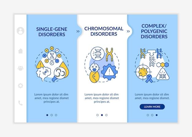 Rodzaje zaburzeń genetycznych szablon wektora onboardingowego. responsywna strona mobilna z ikonami. przewodnik po stronie internetowej 3 ekrany kroków. odziedziczona koncepcja koloru choroby z liniowymi ilustracjami