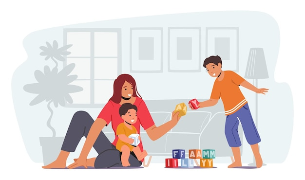 Rodzic bawi się z dziećmi, szczęśliwa rodzina wypoczynek. kochająca mama i wesołe dzieci wolny czas. mama i mali synowie bawią się zabawkami siedzą na podłodze. zabawa dla kobiet i chłopców. ilustracja kreskówka wektor