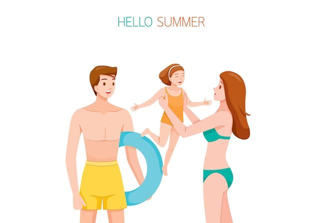 Rodzic i córka w strojach kąpielowych szczęśliwi razem na plaży