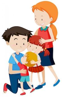 Rodzic i dzieci na białym tle