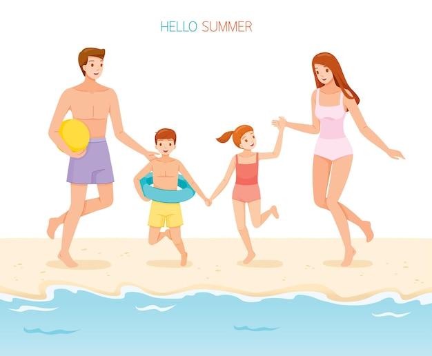 Rodzic i dzieci w strojach kąpielowych, bieganie i trzymające się za ręce do morza