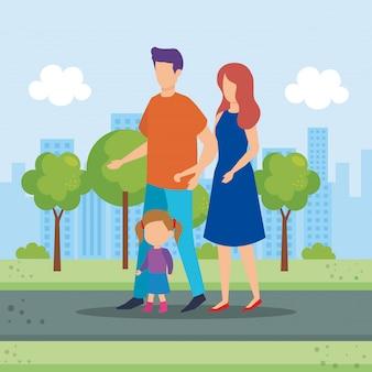 Rodzice dobierają się z córką w parku