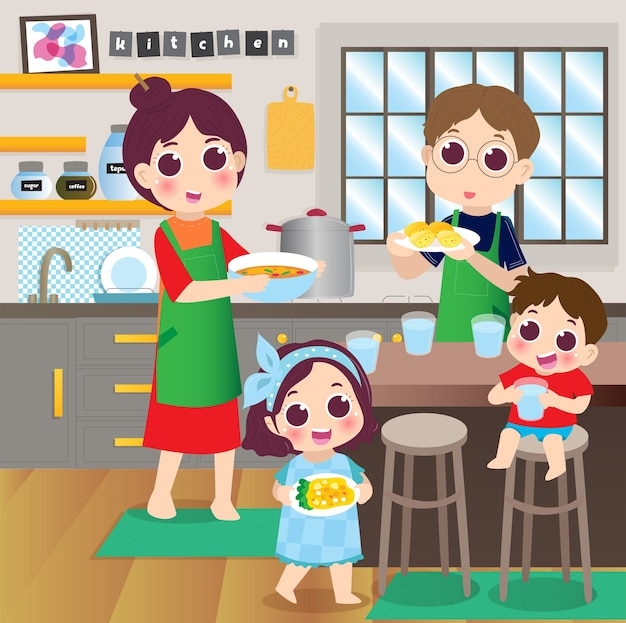 Rodzice i dzieci bawią się podczas gotowania