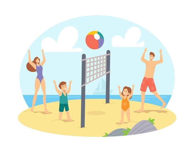 Rodzice i dzieci grające w siatkówkę plażową na brzegu morza. konkurs happy family characters, gra i rekreacja nad brzegiem oceanu, wypoczynek z bliskimi, wakacje. ilustracja wektorowa kreskówka ludzie