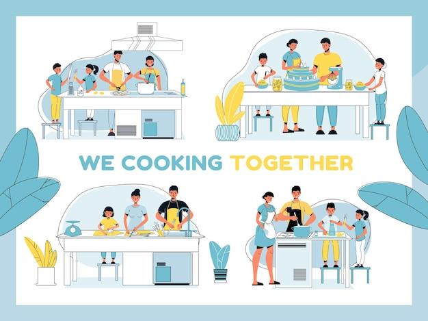 Rodzice i dzieci przygotowują obiad