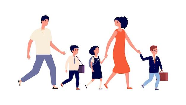 Rodzice i dzieci. uczniowie chodzą do szkoły, matka wielodzietna poszła ze swoimi dziećmi na studia. uczeń i uczennice, dziecko w jednolitej ilustracji wektorowych. chłopiec i dziewczynka chodzą do szkoły