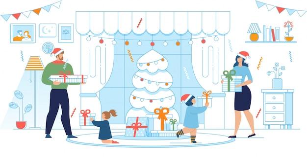 Rodzice i dzieci w świątecznych ubraniach wymieniają prezenty