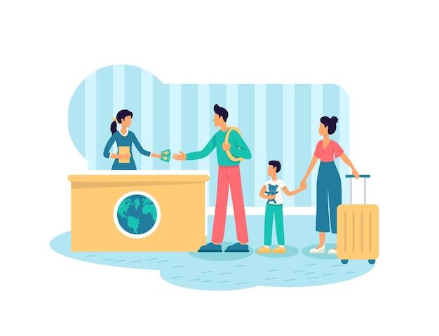 Rodzice i dziecko z walizkami płaskich postaci na tle kreskówki
