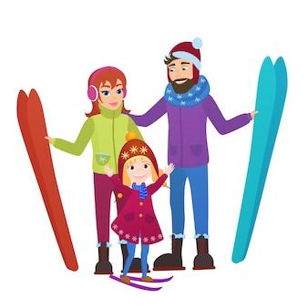 Rodzice narciarzy z córką w śnieżnych górach. rodzina mężczyzna, kobieta i dziewczyna zimowy wypoczynek na nartach.