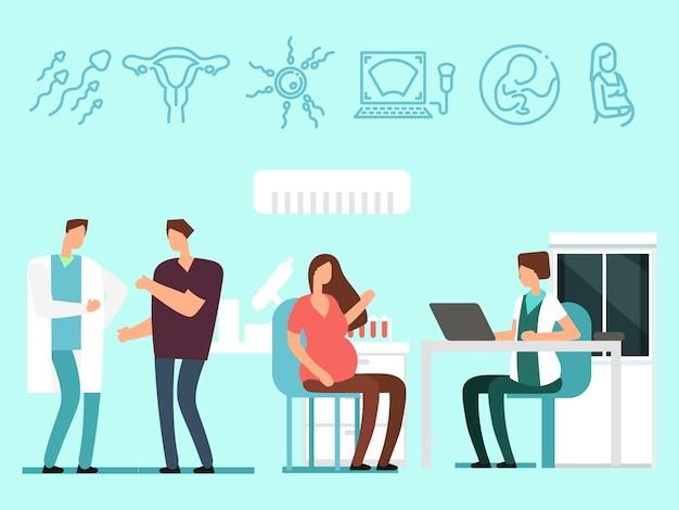 Rodzice odwiedzają lekarzy. kobieta w ciąży i mąż