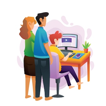 Rodzice prowadzą swoje dzieci w oglądaniu webinarów